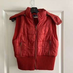 Free People Red Plaid Hood Puffy Vest M